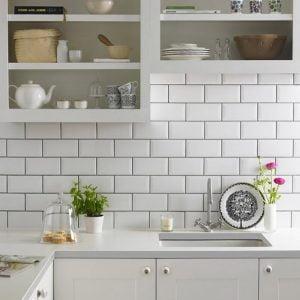 Metro white kitchen tiles