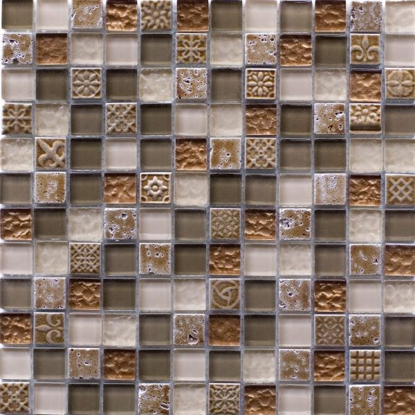 Authentic Ancient Symbol Beige Stone & Glass Mosaic