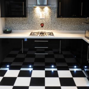 Monochrome black and white kitchen floor.