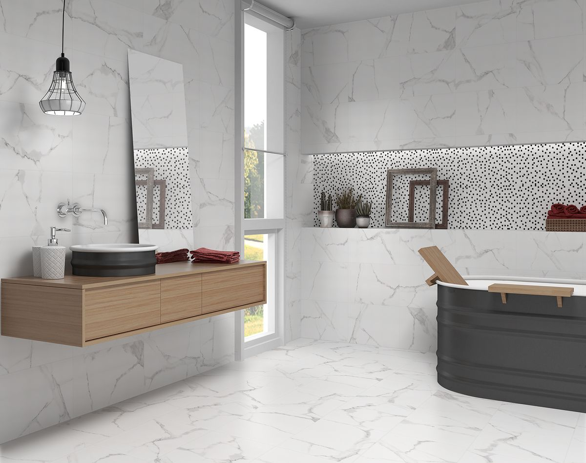 Polished Carrara Marble Effect Wall Tiles 300x600 Eurotiles