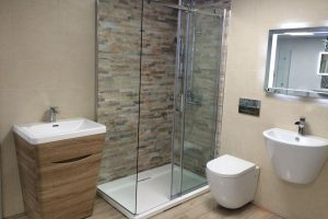 Pompeli split face tiles in beige in shower imagemage