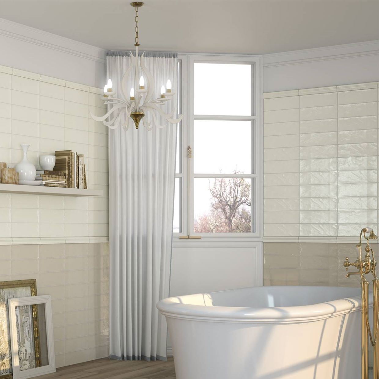 Mellow Ripple Effect Ivory Ceramic Wall