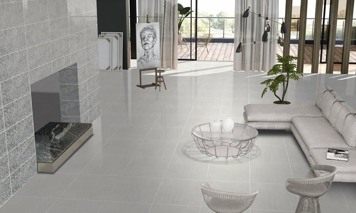 Luxurious Light Grey Porcelain Polished Tiles Eurotiles And