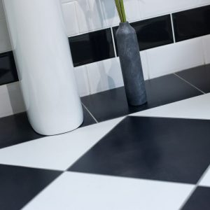 Monochrome bathroom floor
