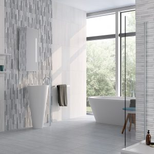 Salamanca white bathroom walls & floor.