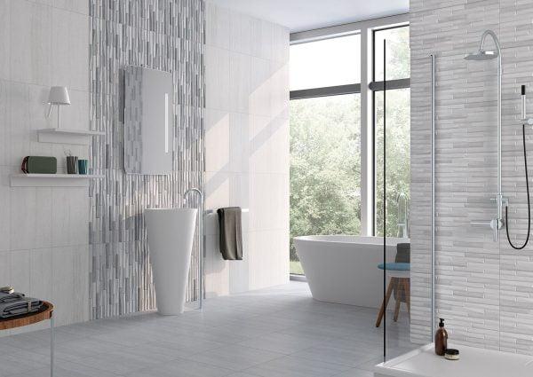Salamanca white bathroom walls & floor.