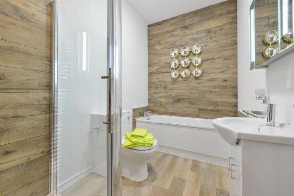 Woburn oak used on a bathroom wall.
